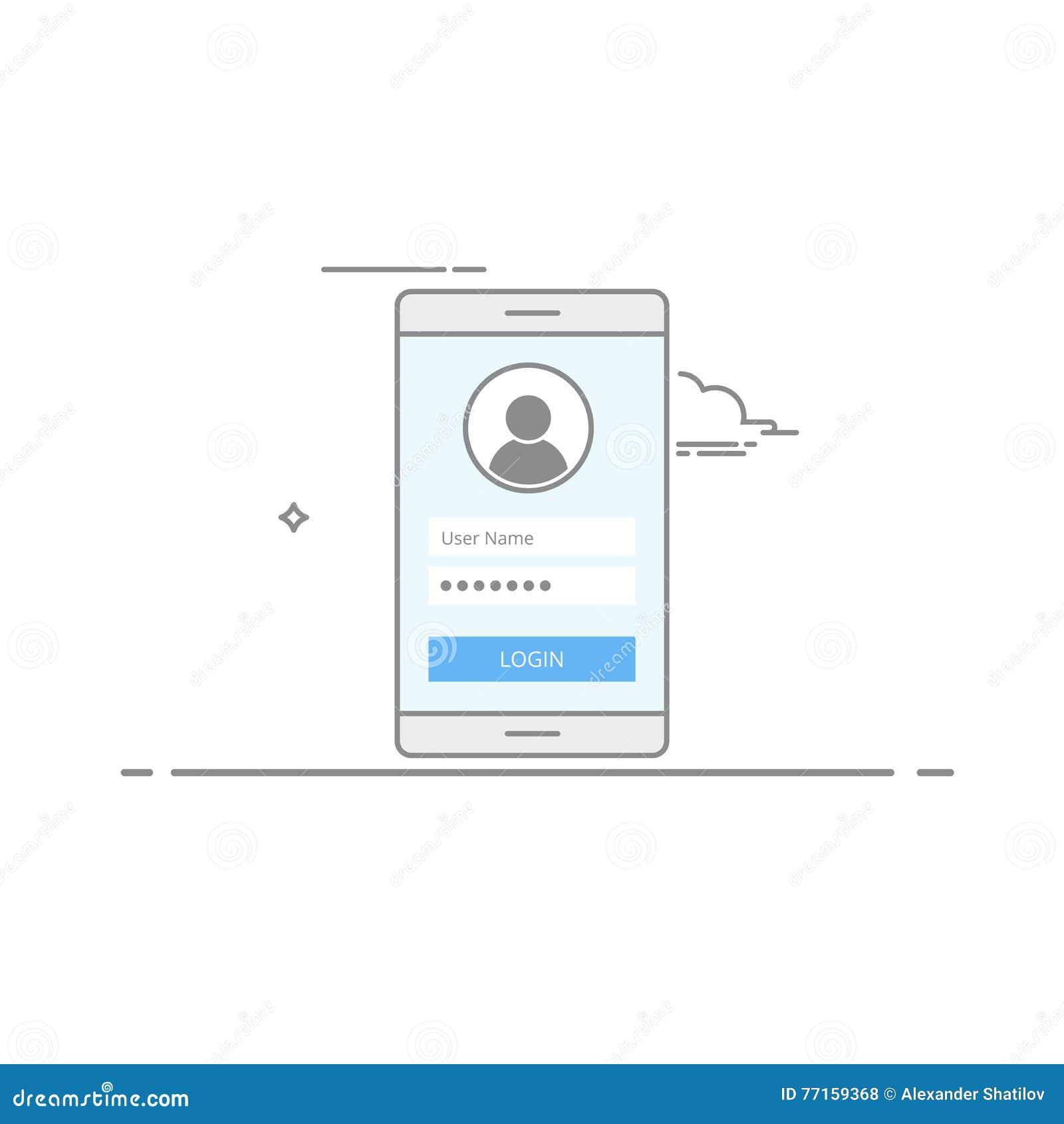 Écran de login de design de l interface de concept sur votre périphérique mobile S inscrire ou login à l application