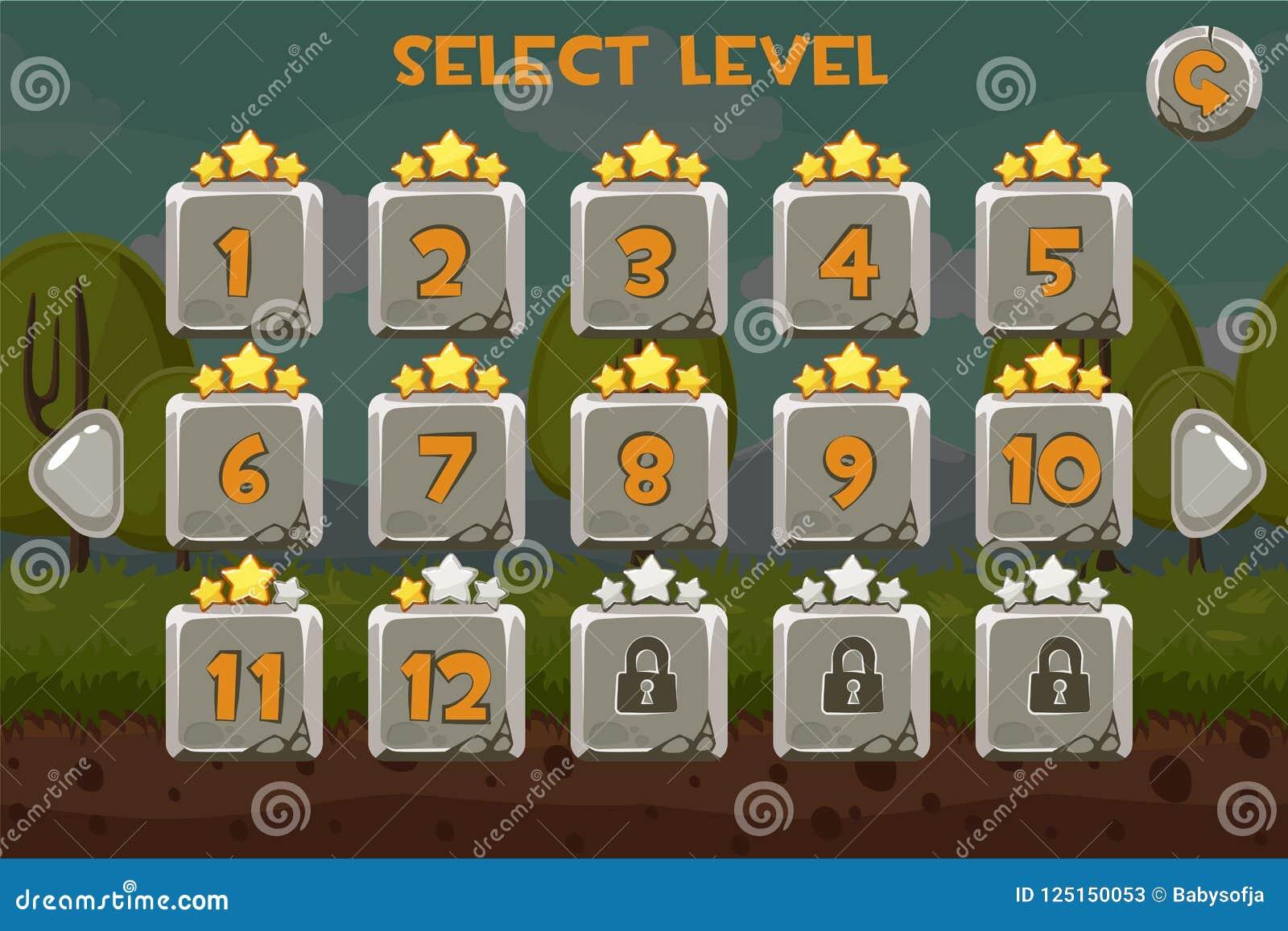 Écran de niveau en pierre de sélection Ui de jeu réglé sur le fond drôle