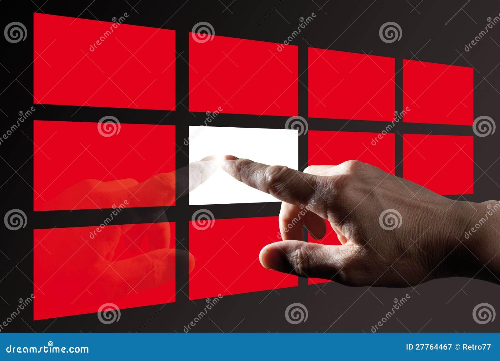 Écran tactile émouvant de Digitals de doigt