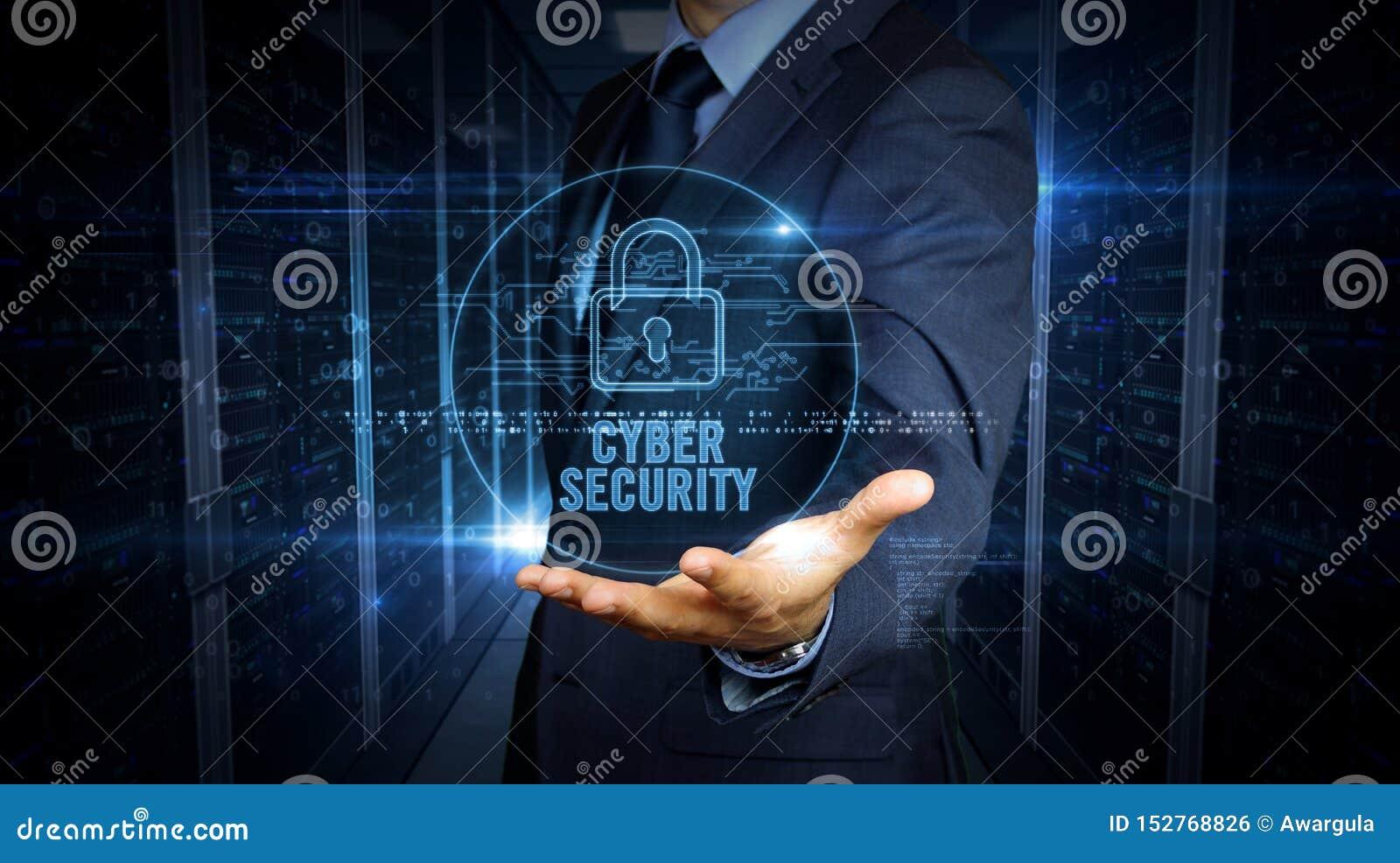 Écran tactile d homme d affaires avec l hologramme de sécurité de cyber