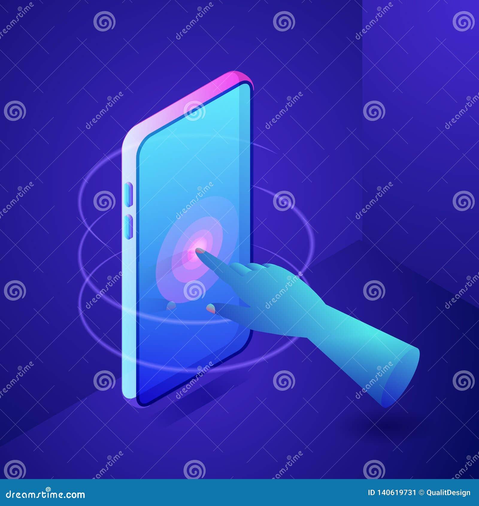 Écran tactile de main au téléphone Concept interactif de technologie de Digital Illustration isométrique au néon des gradients 3d