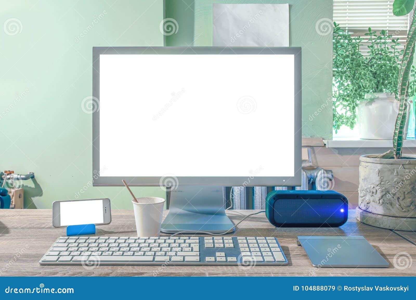 Écran vide d ordinateur de bureau moderne image stock image du