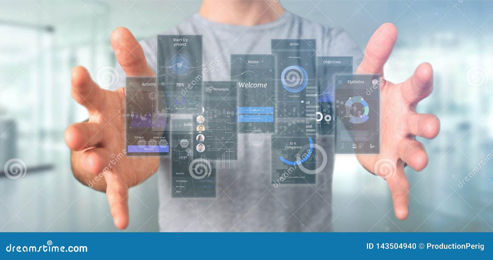 Écrans d interface utilisateurs de participation d homme d affaires avec le rendu d icône, de stat et de données 3d