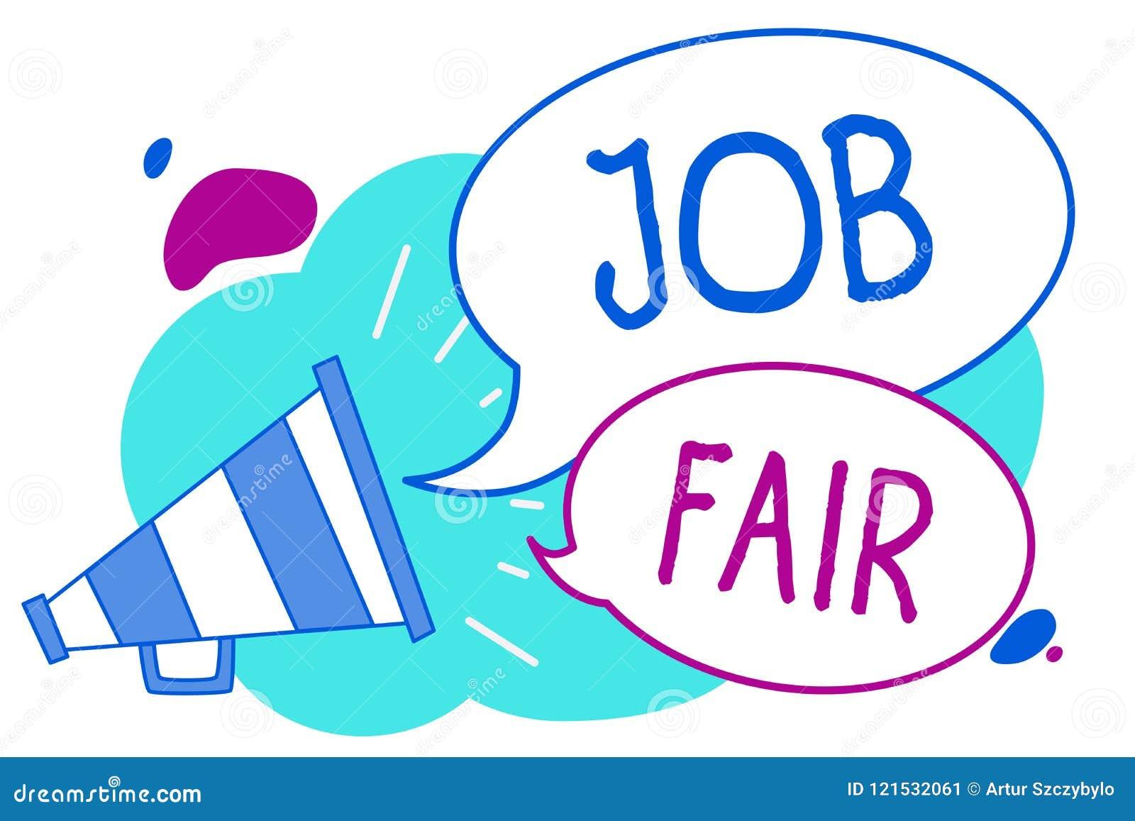 Écriture conceptuelle de main montrant Job Fair Texte de photo d affaires un événement où une personne peut me faire acte de cand