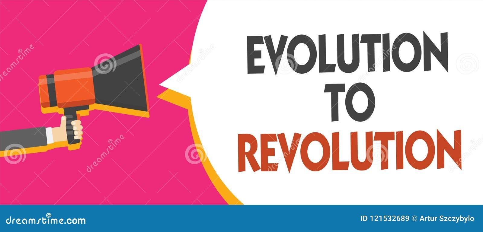 Écriture conceptuelle de main montrant l évolution à la révolution Adaptation de présentation de photo d affaires au mode de vie