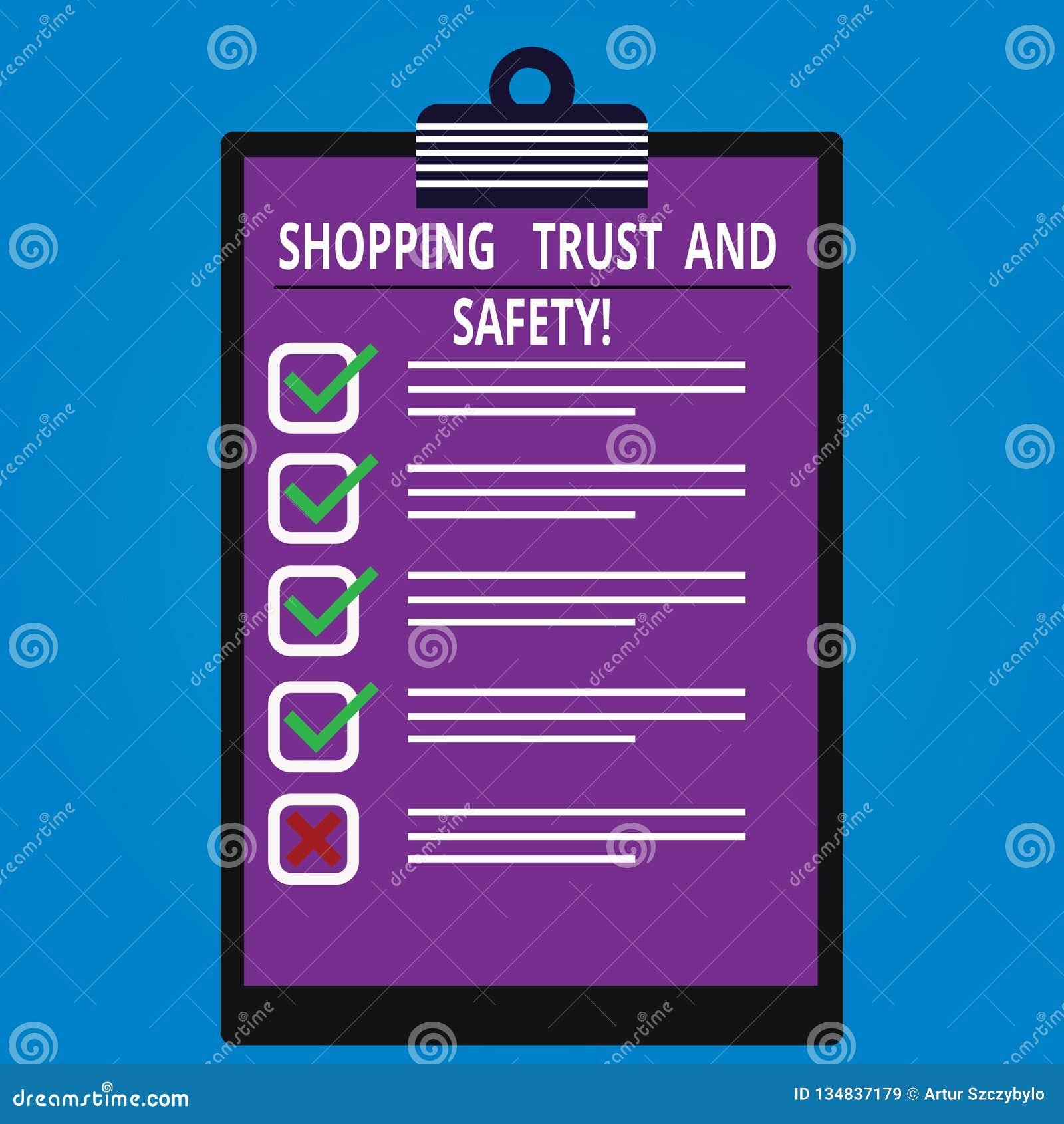 Écriture conceptuelle de main montrant la confiance et la sécurité de achat E