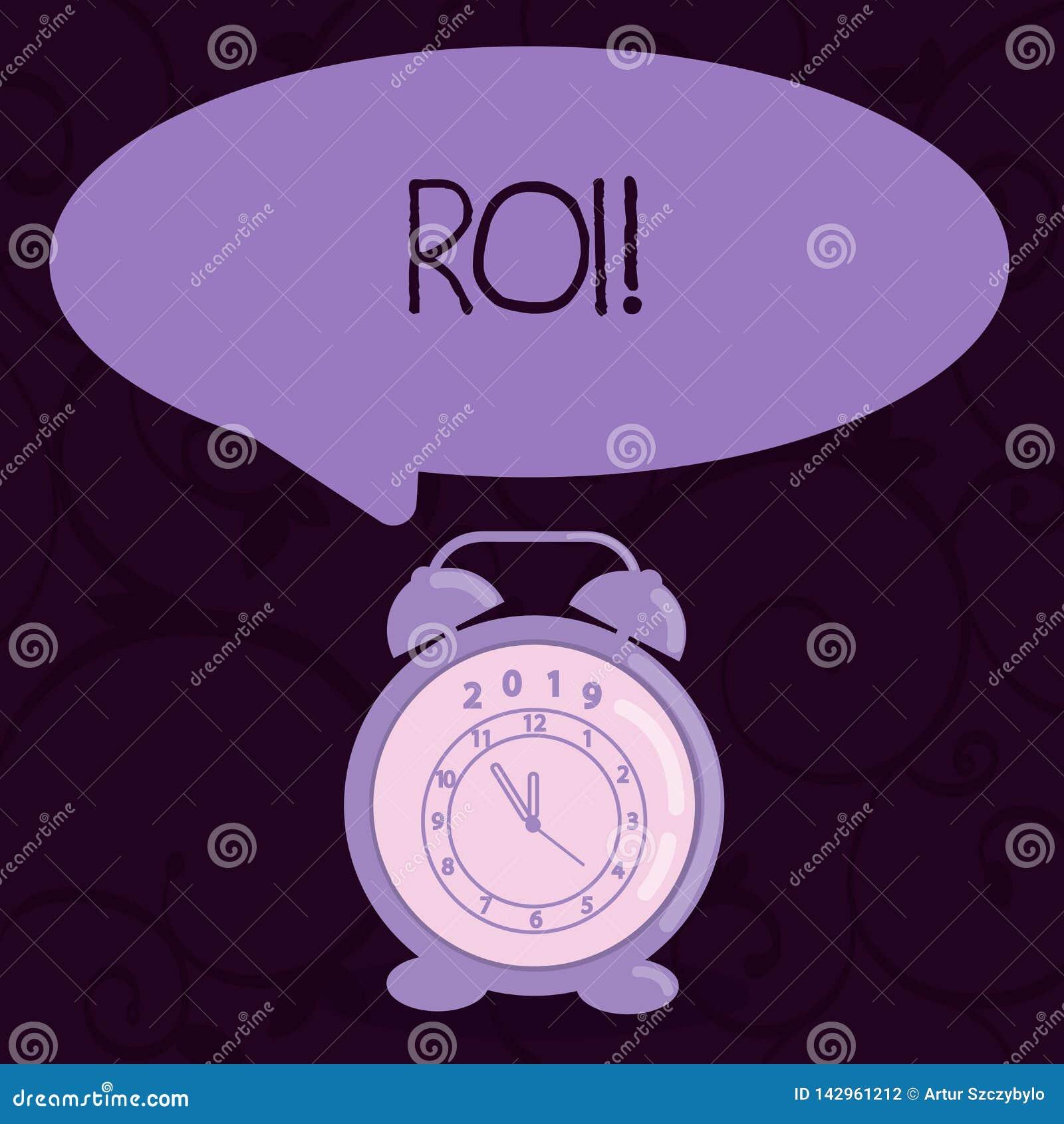 Écriture conceptuelle de main montrant le ROI Affaires de gains de mesure de perforanalysisce de retour sur l investissement des