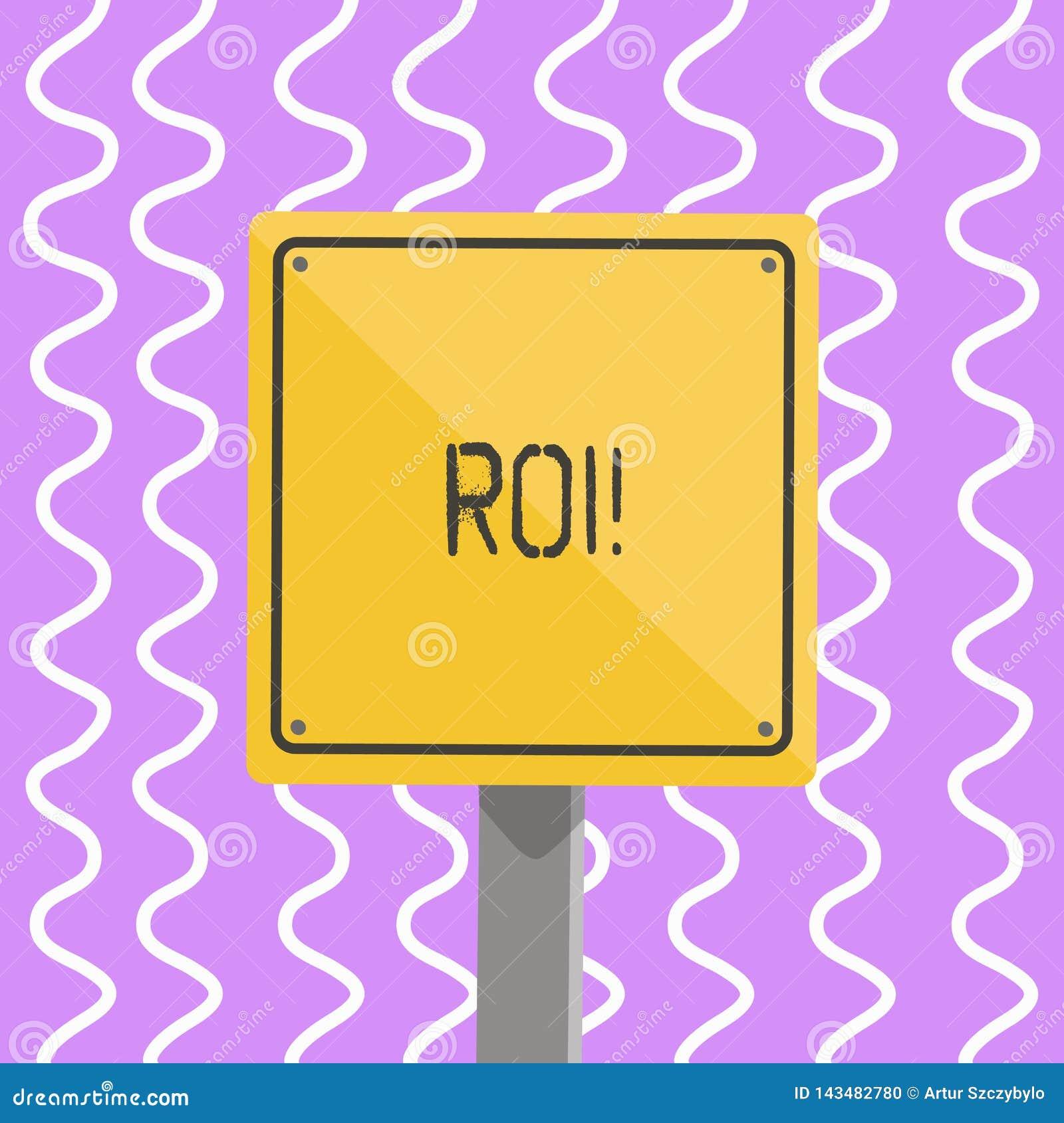 Écriture conceptuelle de main montrant le ROI Gains de présentation de mesure de perforanalysisce de retour sur l investissement