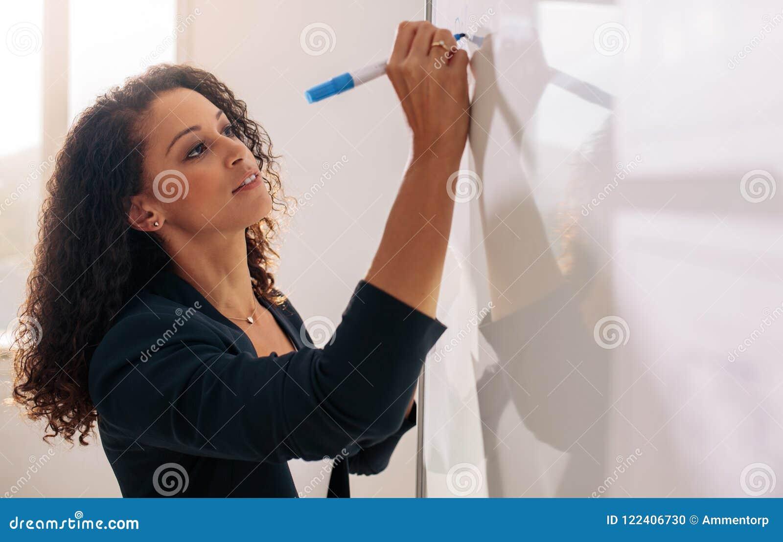 Écriture d entrepreneur de femme sur le tableau blanc dans le bureau
