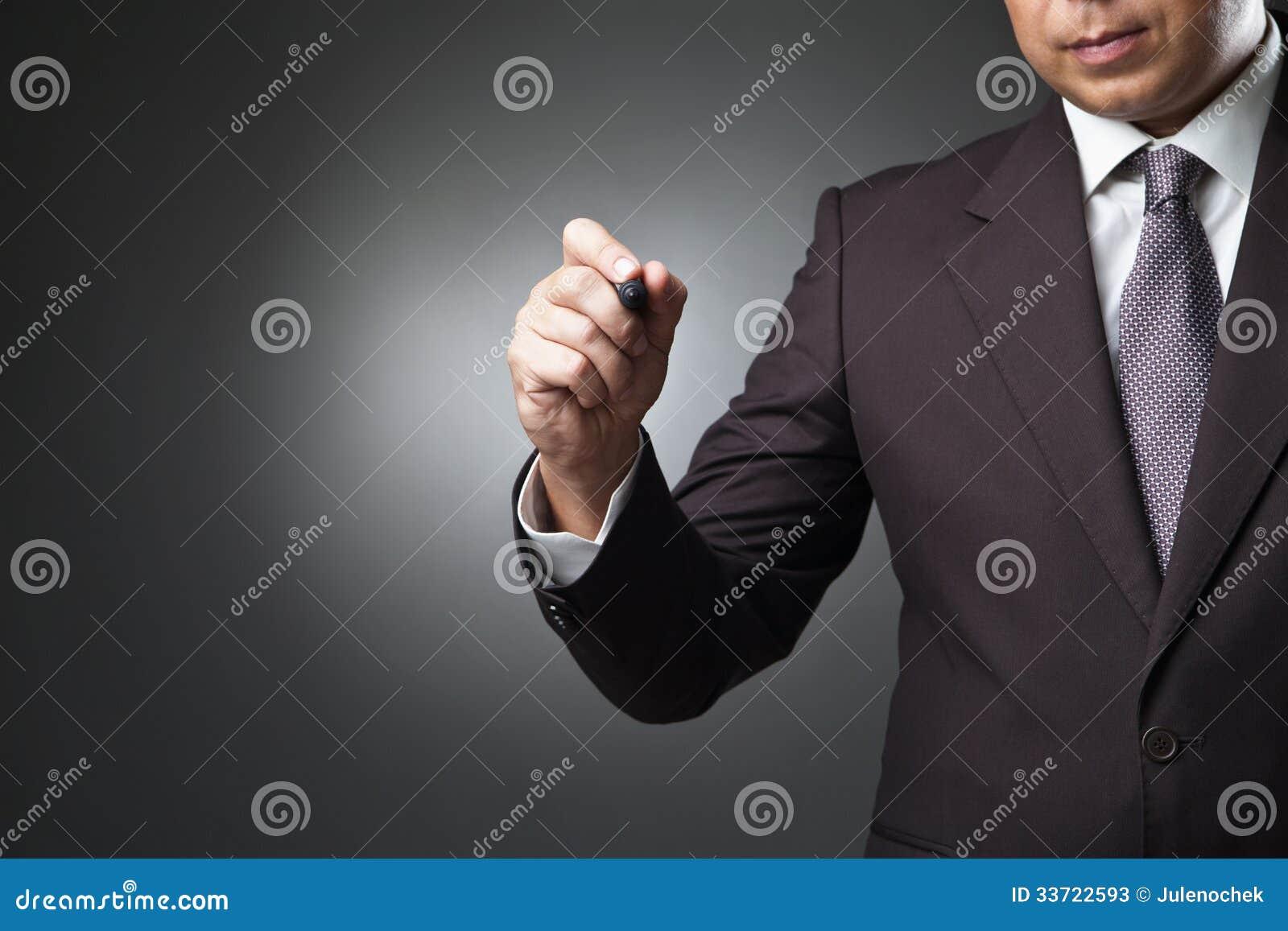 Écriture d homme d affaires, dessin sur l écran