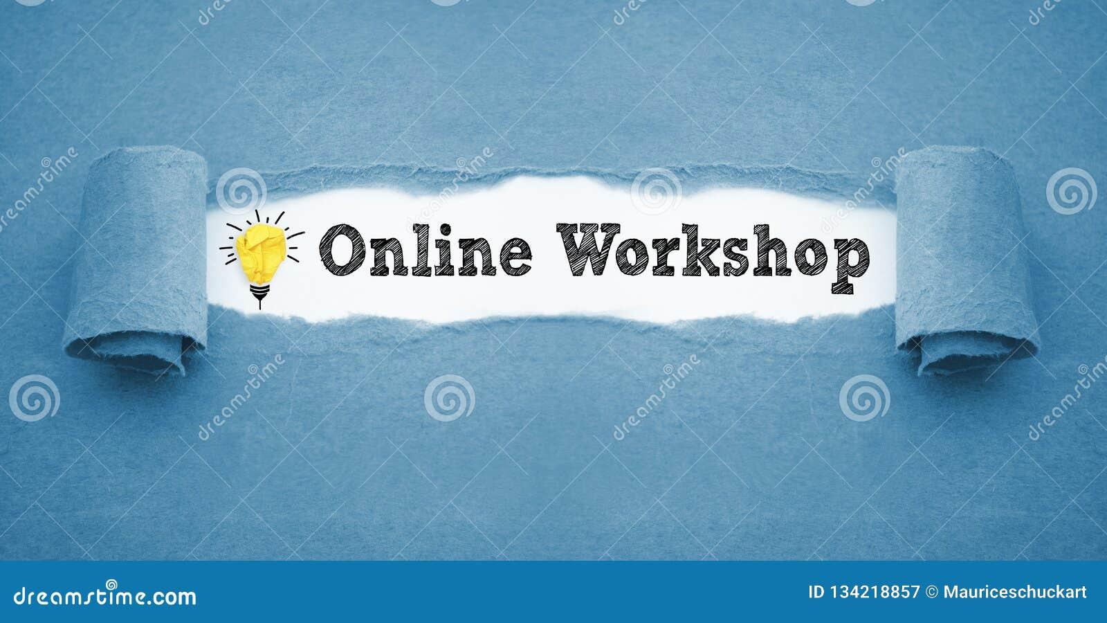 Écritures avec l ampoule de papier chiffonnée et l atelier en ligne