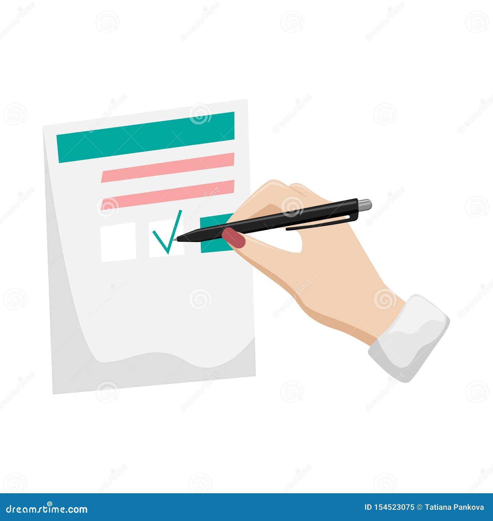 Écritures, déclaration d impôt, questionnaire La main d une femme avec une manucure rouge signe le document
