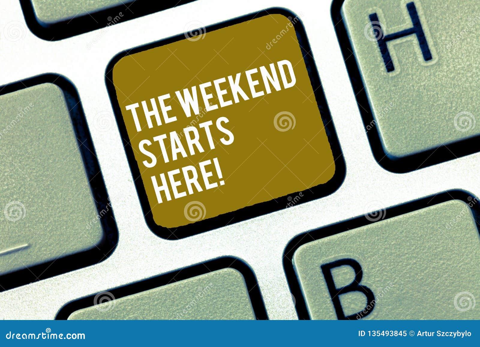 Écrivant la note montrant les débuts de week-end ici Finale de présentation de photo d affaires de la semaine commençant la parti