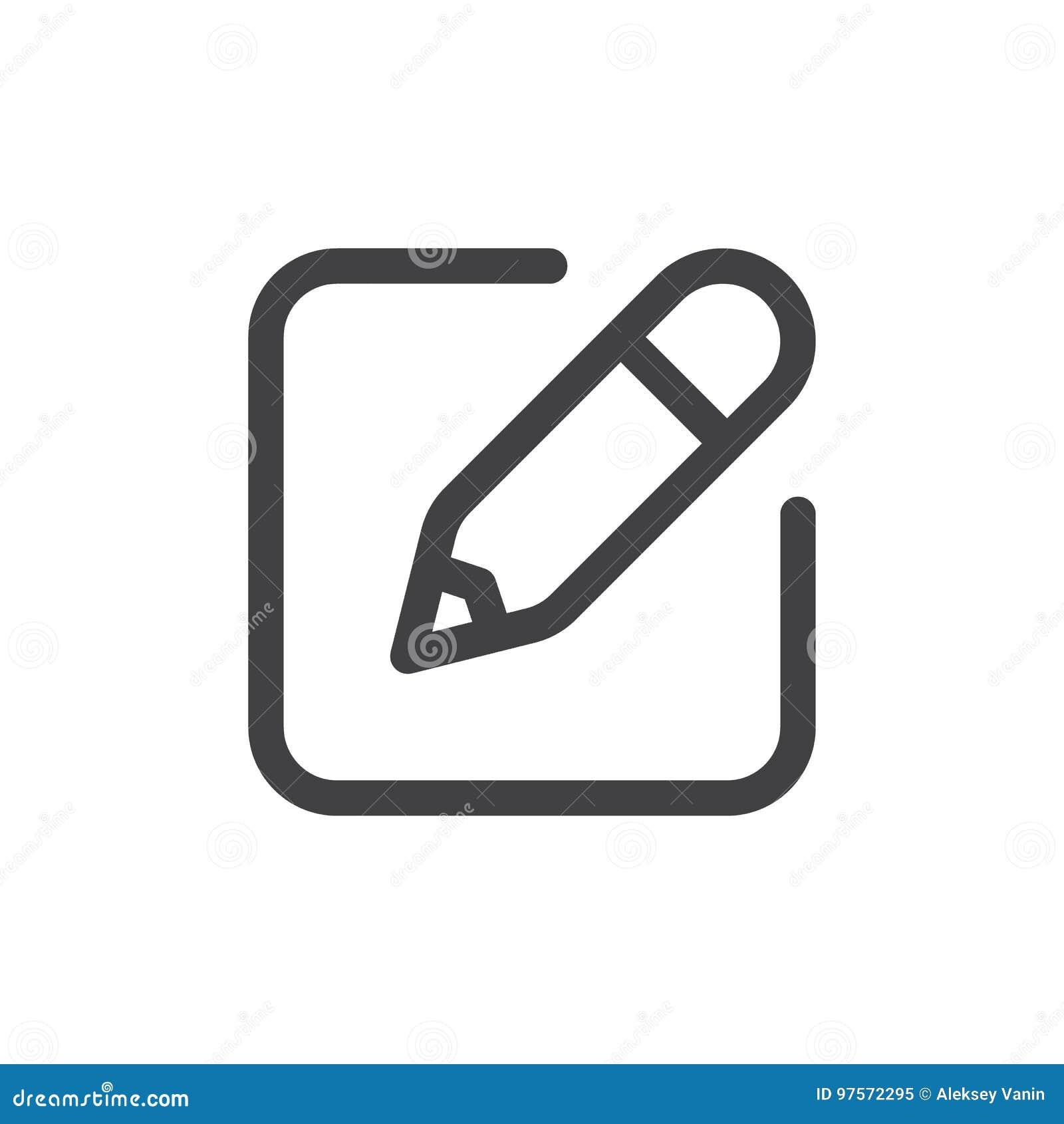 Écrivez à ligne l icône simple