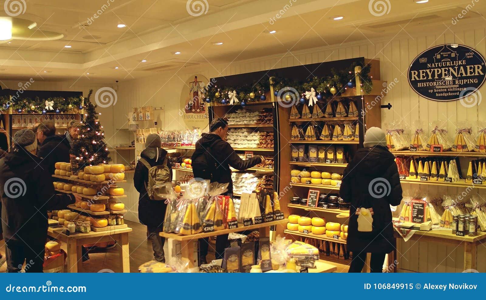 ÉDAM, PAYS-BAS - 30 DÉCEMBRE 2017 Boutique Locale De Fromage De ... ea422f529f51
