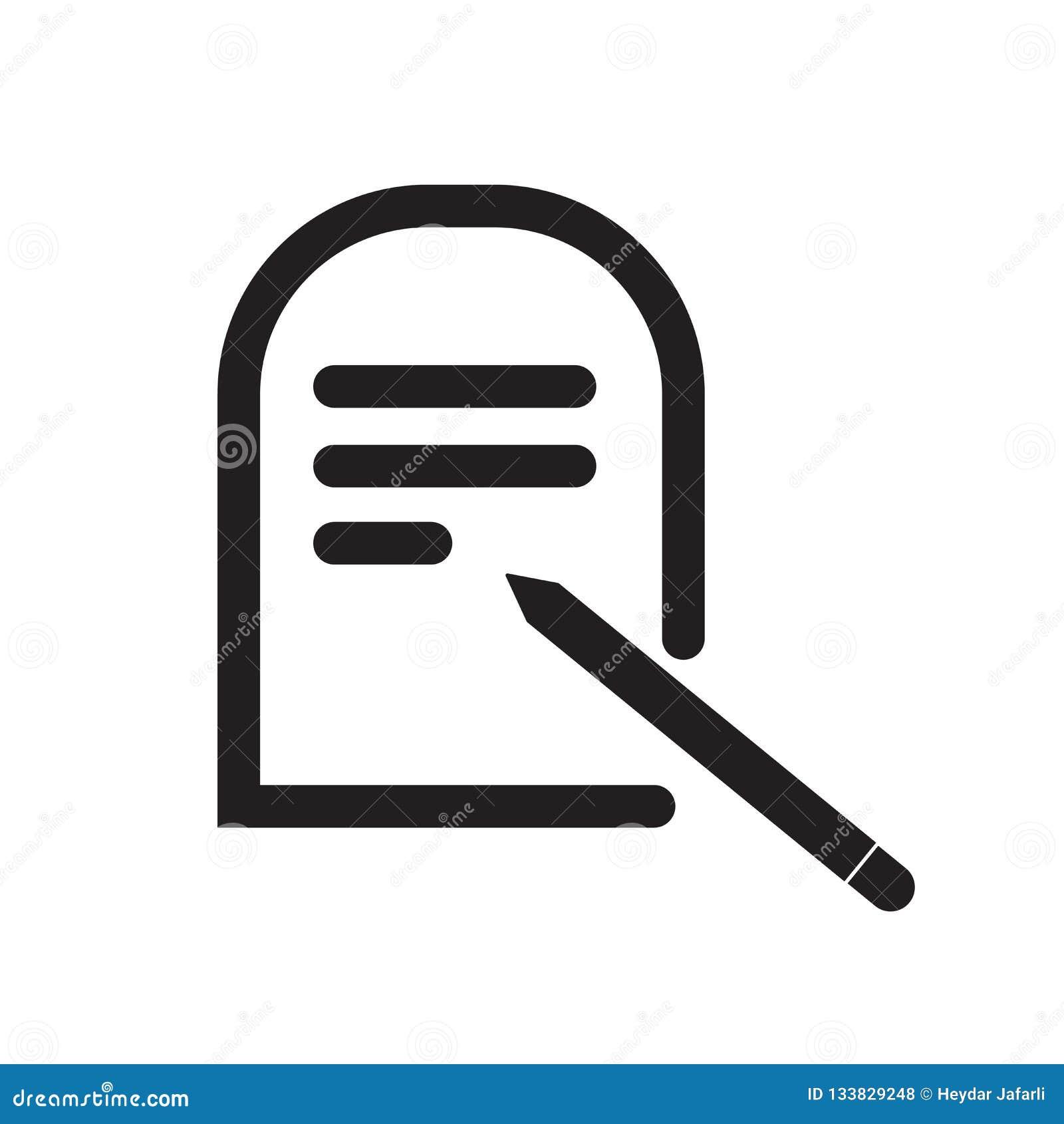 Éditez le signe et le symbole de vecteur d icône de bouton d isolement sur le backgr blanc