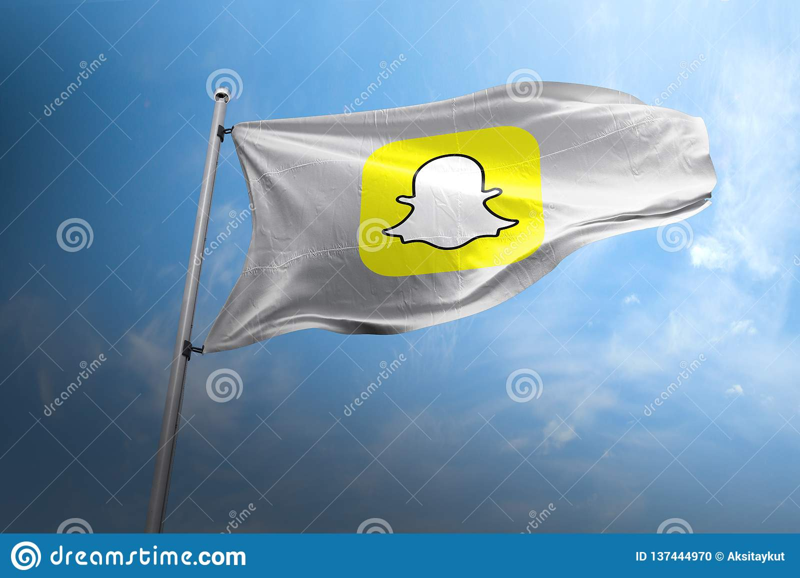 Éditorial photorealistic de drapeau de Snapchat