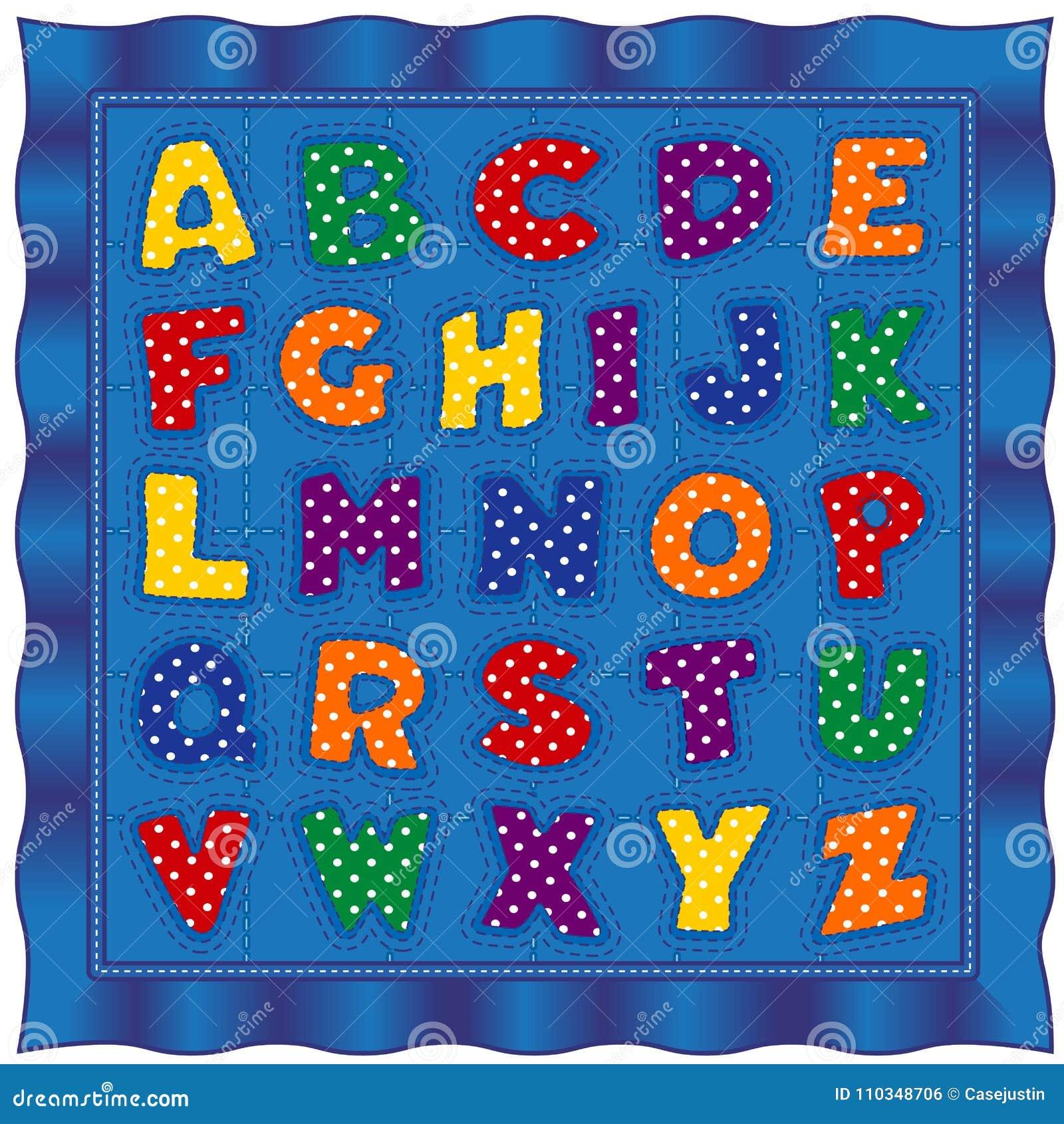 Édredon de bébé d alphabet, polka lumineuse Dot Letters, frontière bleue de satin