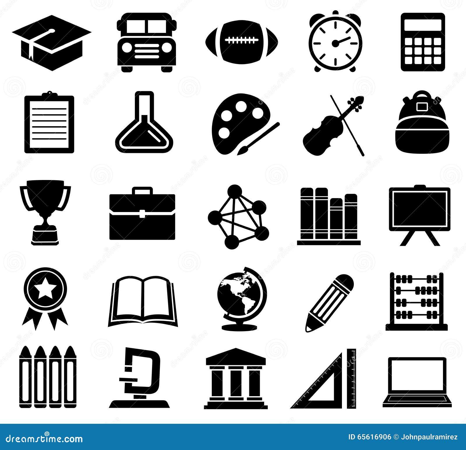 Éducation, école, icônes, silhouettes
