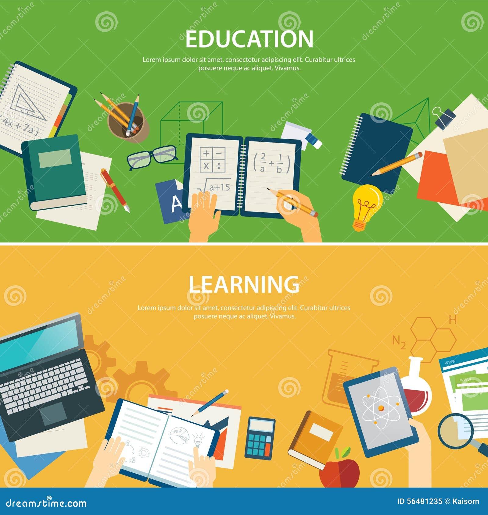 Éducation et étude du calibre plat de conception de bannière