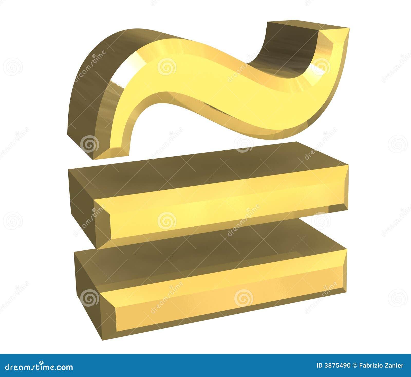 Égale circa le symbole de maths en or