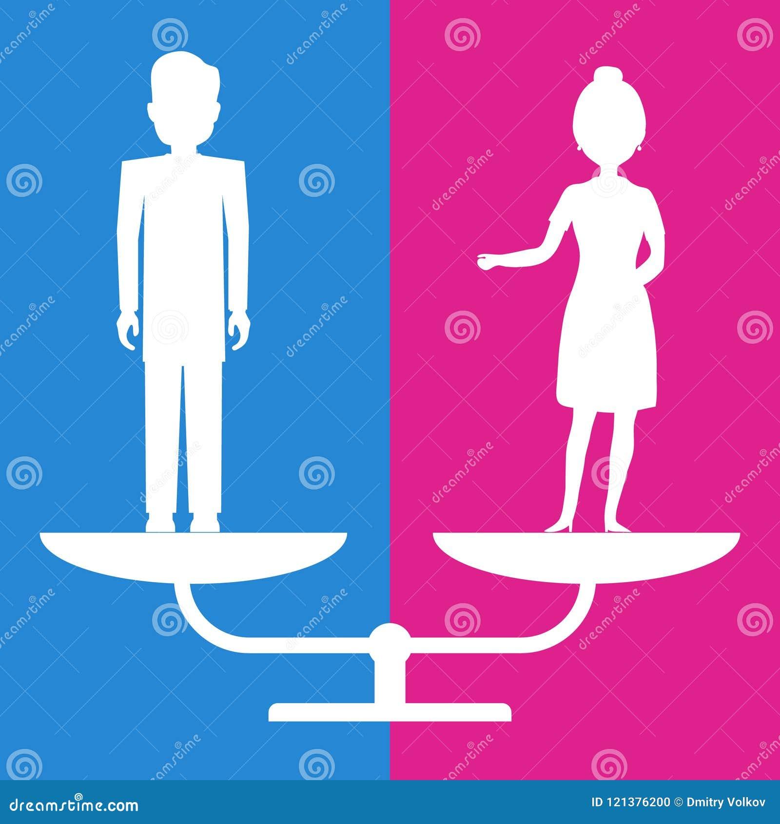 Égalité entre les sexes Un homme et une femme sont sur la pose égale sur les échelles