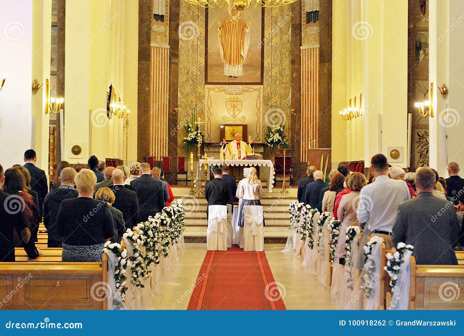 Église Catholique De Cérémonie De Mariage Photographie