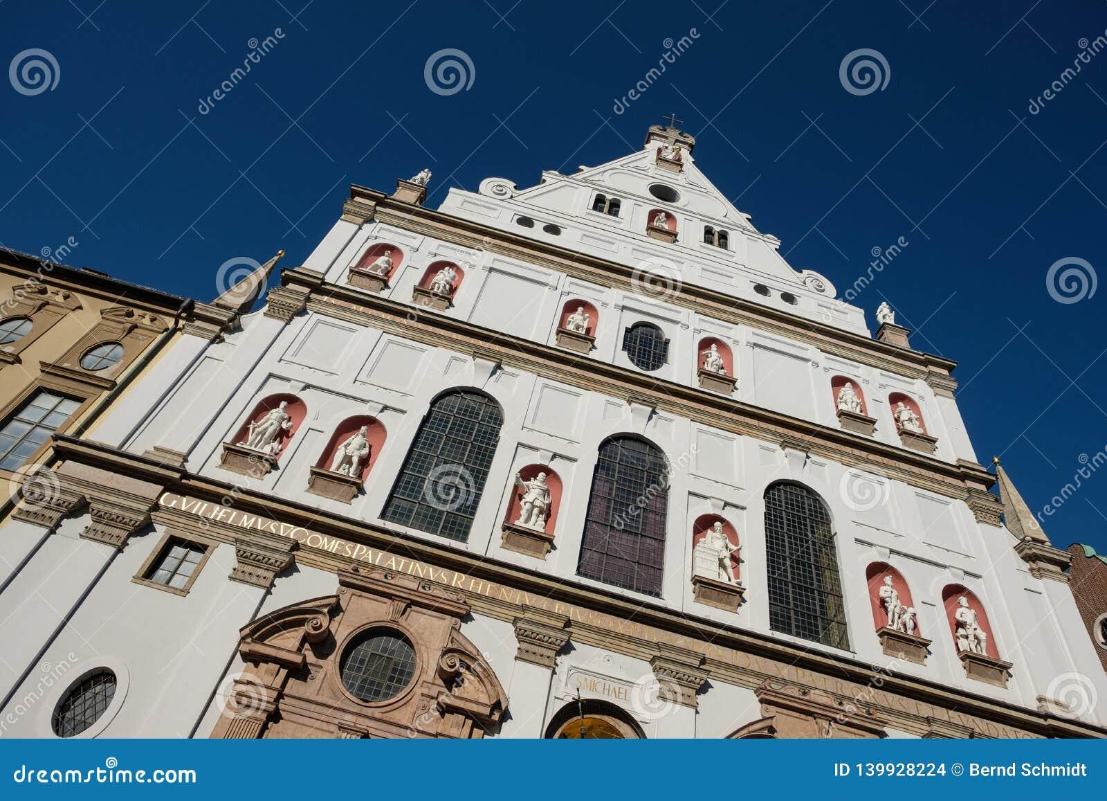 Église catholique de jésuites de St Michael de façade en Bavière de Munich