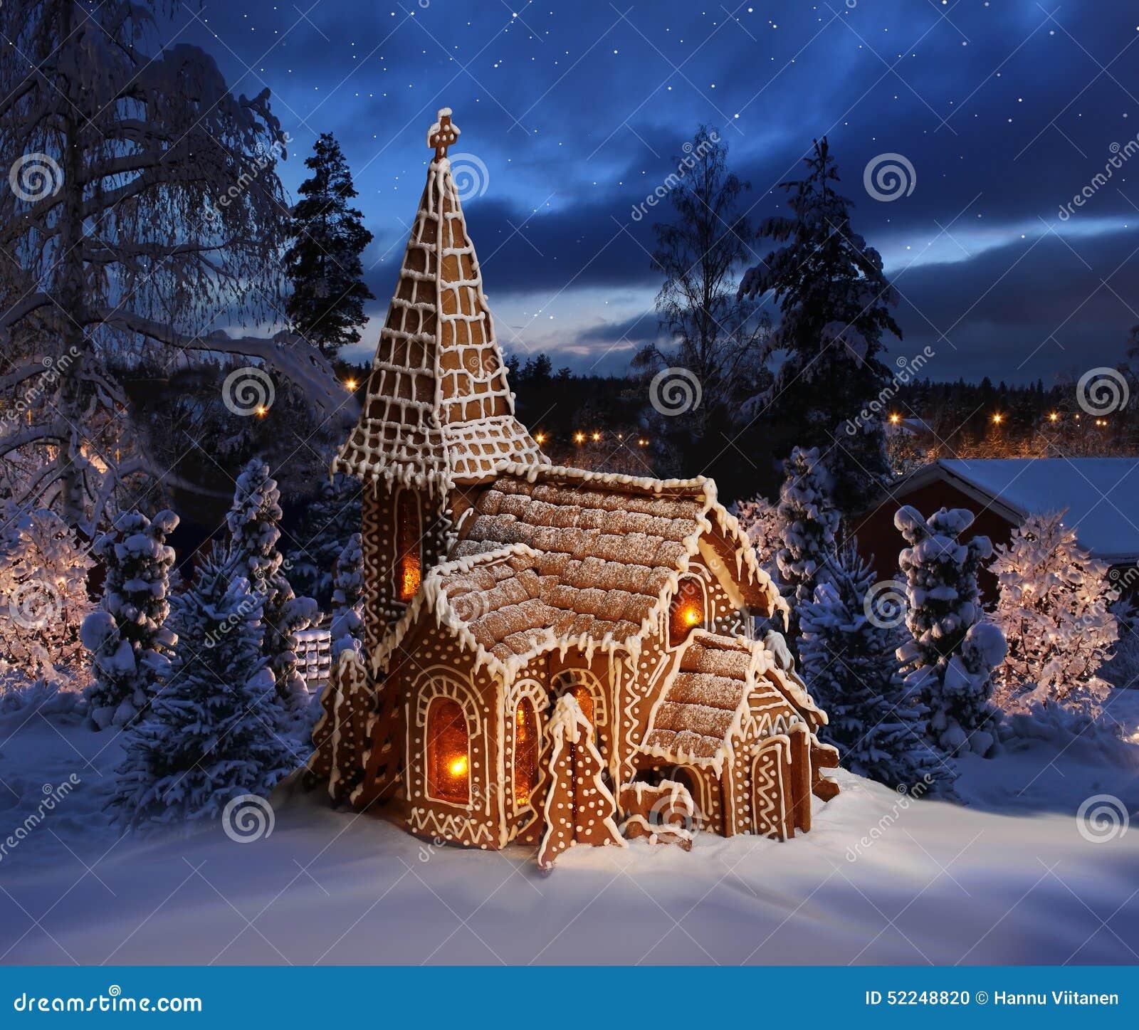 glise de pain d 39 pice sur le paysage neigeux de nuit de no l photo stock image du glise. Black Bedroom Furniture Sets. Home Design Ideas