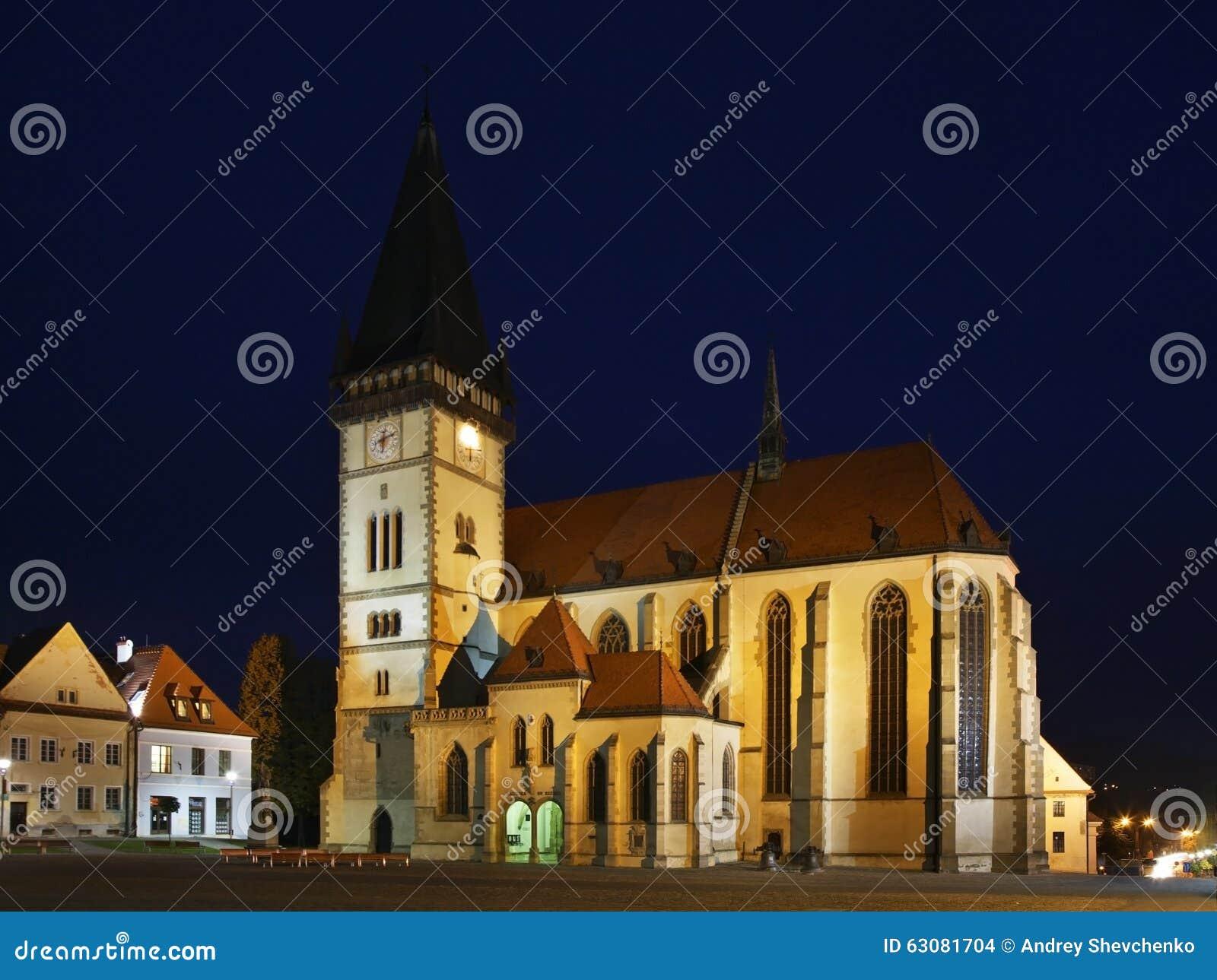 Download Église Du SV Aegidius Sur La Place D'hôtel De Ville Dans Bardejov Slovakia Photo stock - Image du culte, nuit: 63081704