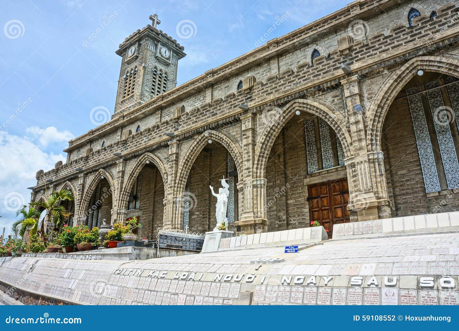 Église en pierre, cathédrale antique, trang de nha, Vietnam