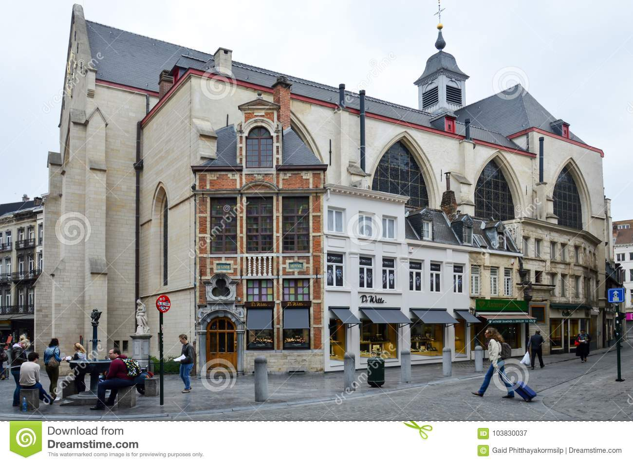 The Église St-Nicolas or Saint Nicholas Church located behind the Bourse in Brussels, Belgium