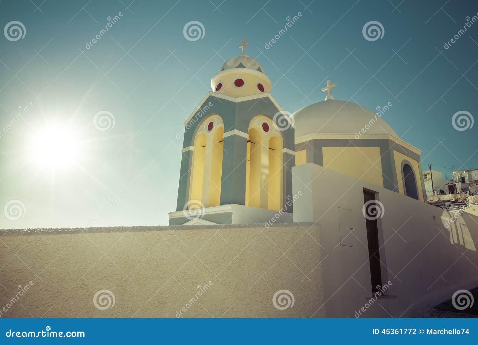 Église typique d île de Santorini petite
