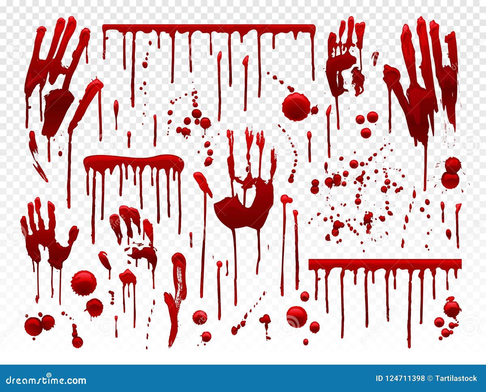 Égouttement de sang L éclaboussure rouge de peinture, les taches ensanglantées d éclaboussure de Halloween et la main de saigneme