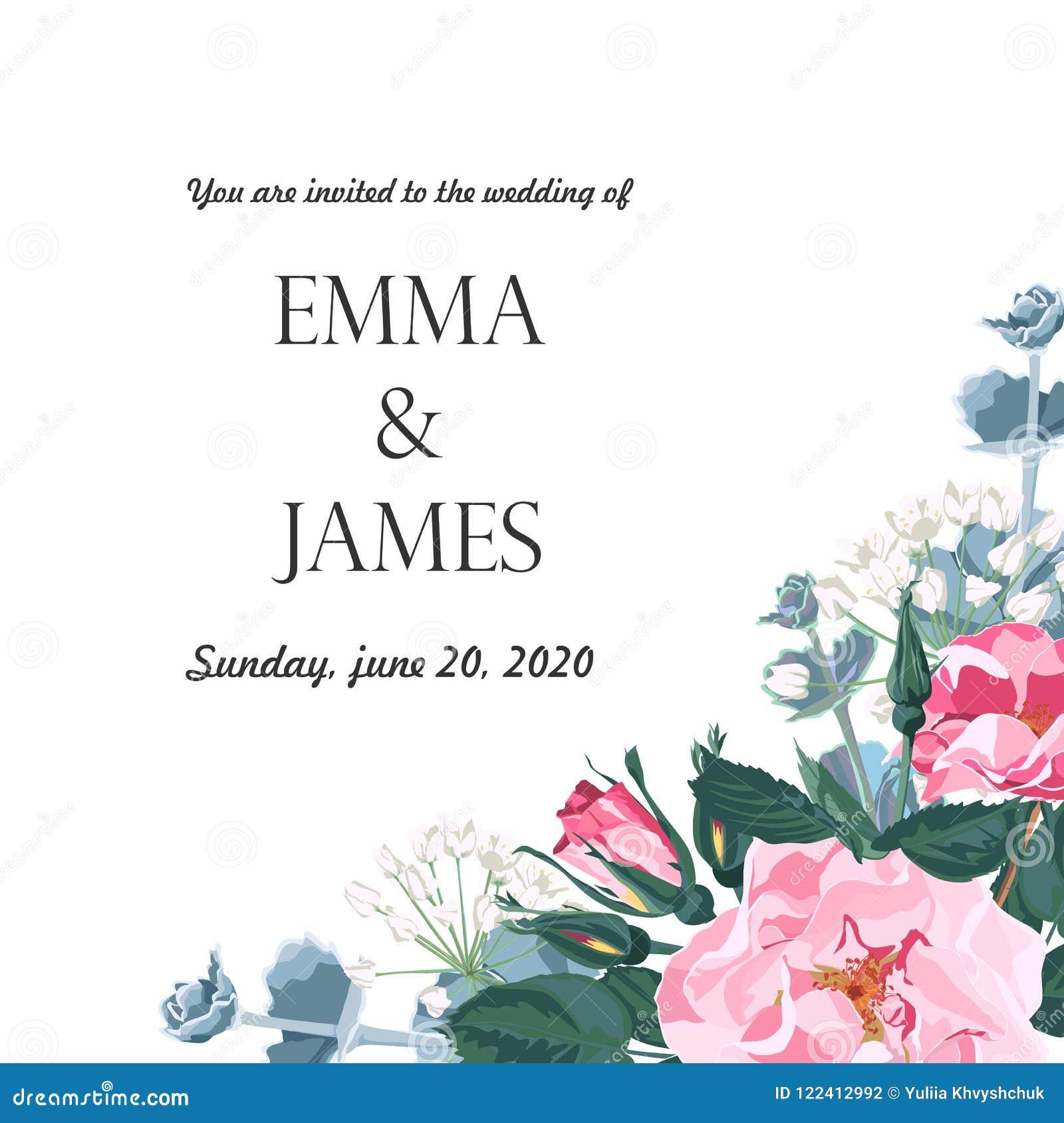 Élégants floraux invitent le design de carte : roses de chien de rose de fleur de jardin, verdure tendre