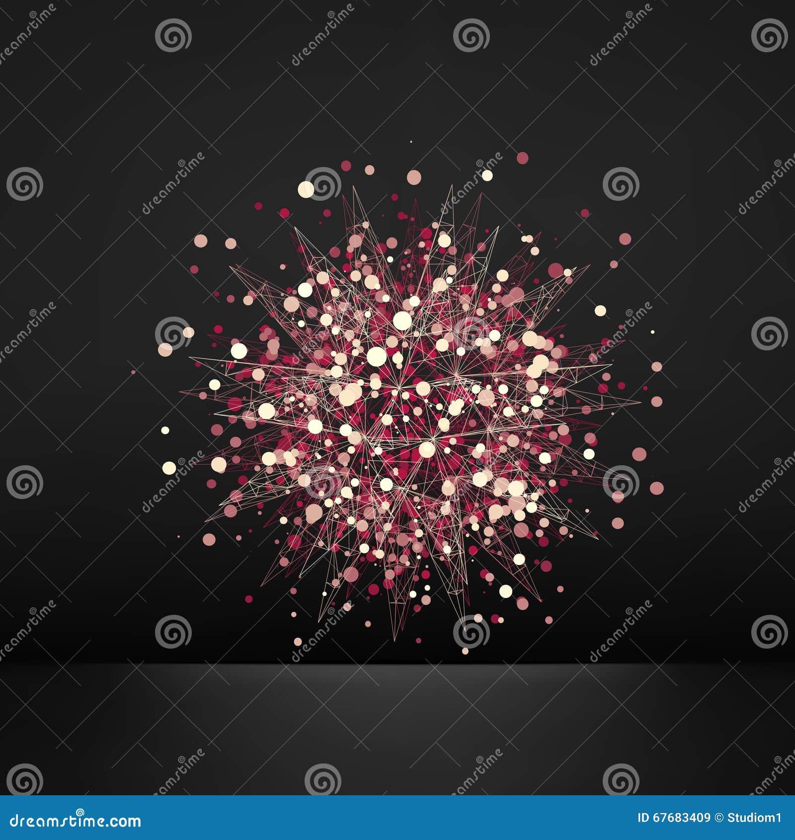 Élément abstrait de la conception 3d, emblème Différentes lumières Dots On Black Background Illustration de vecteur