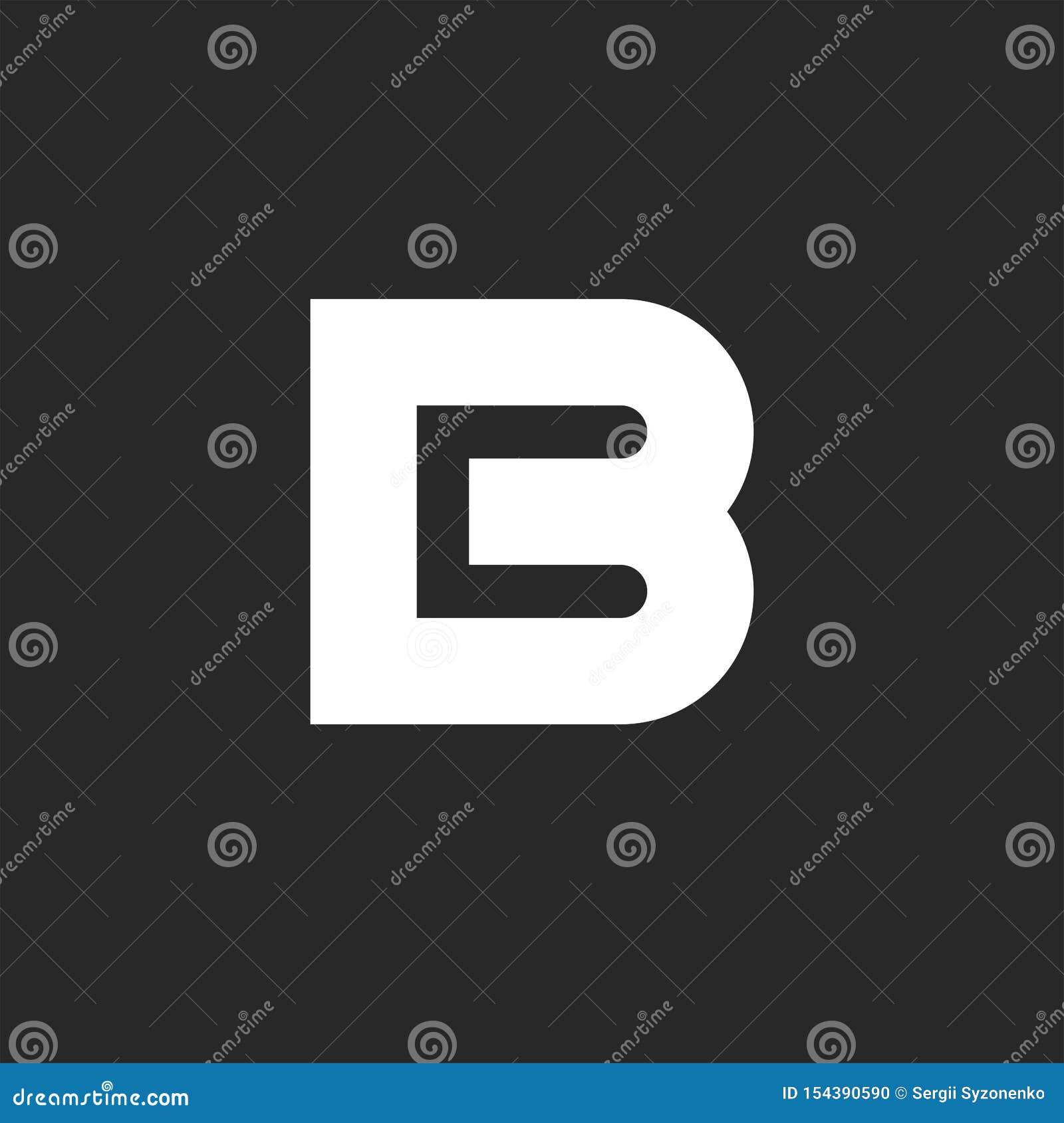 Élément audacieux de conception de logo de la lettre B, lettres négatives du style deux de l espace maquette d emblème de carte d