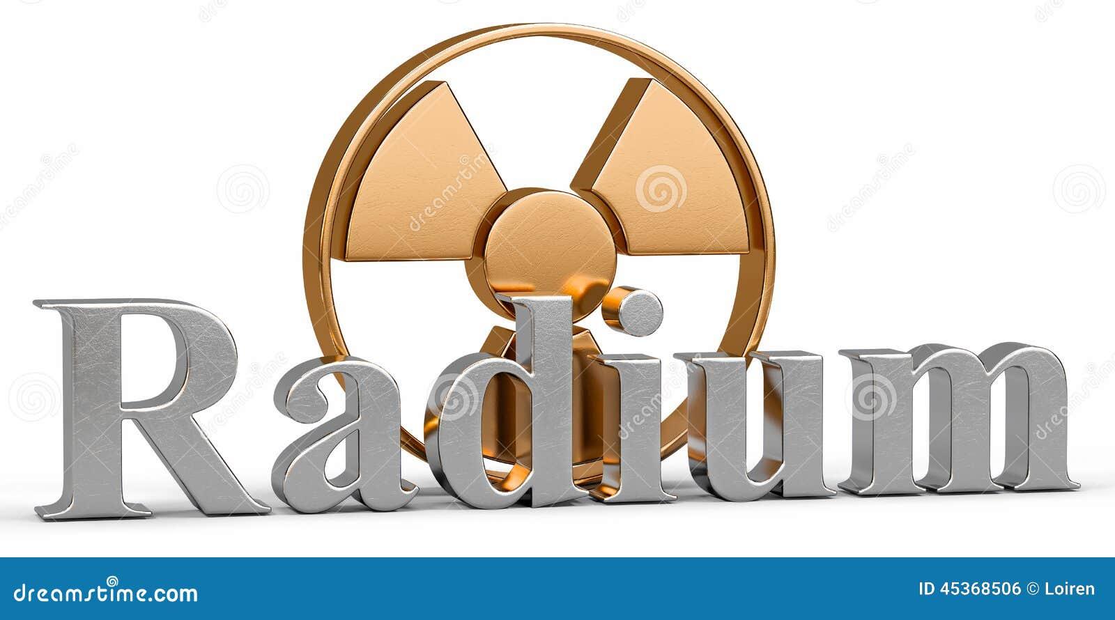 Élément chimique de radium avec le rayonnement de symbole