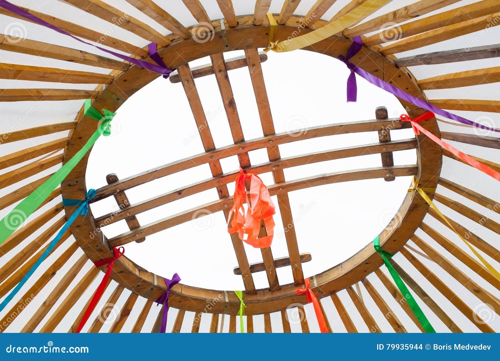 Élément de Shanyrak qui couronne le dôme du Yurt sous forme de trellis de la croix, inscrit dans un cercle pour créer un ouvert