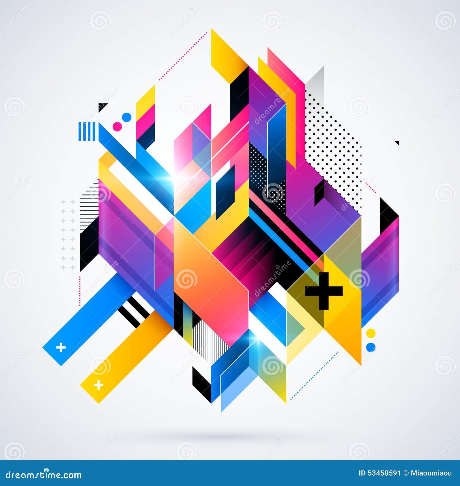 Élément géométrique abstrait avec des gradients colorés et des lumières rougeoyantes Conception futuriste d entreprise, utile pou