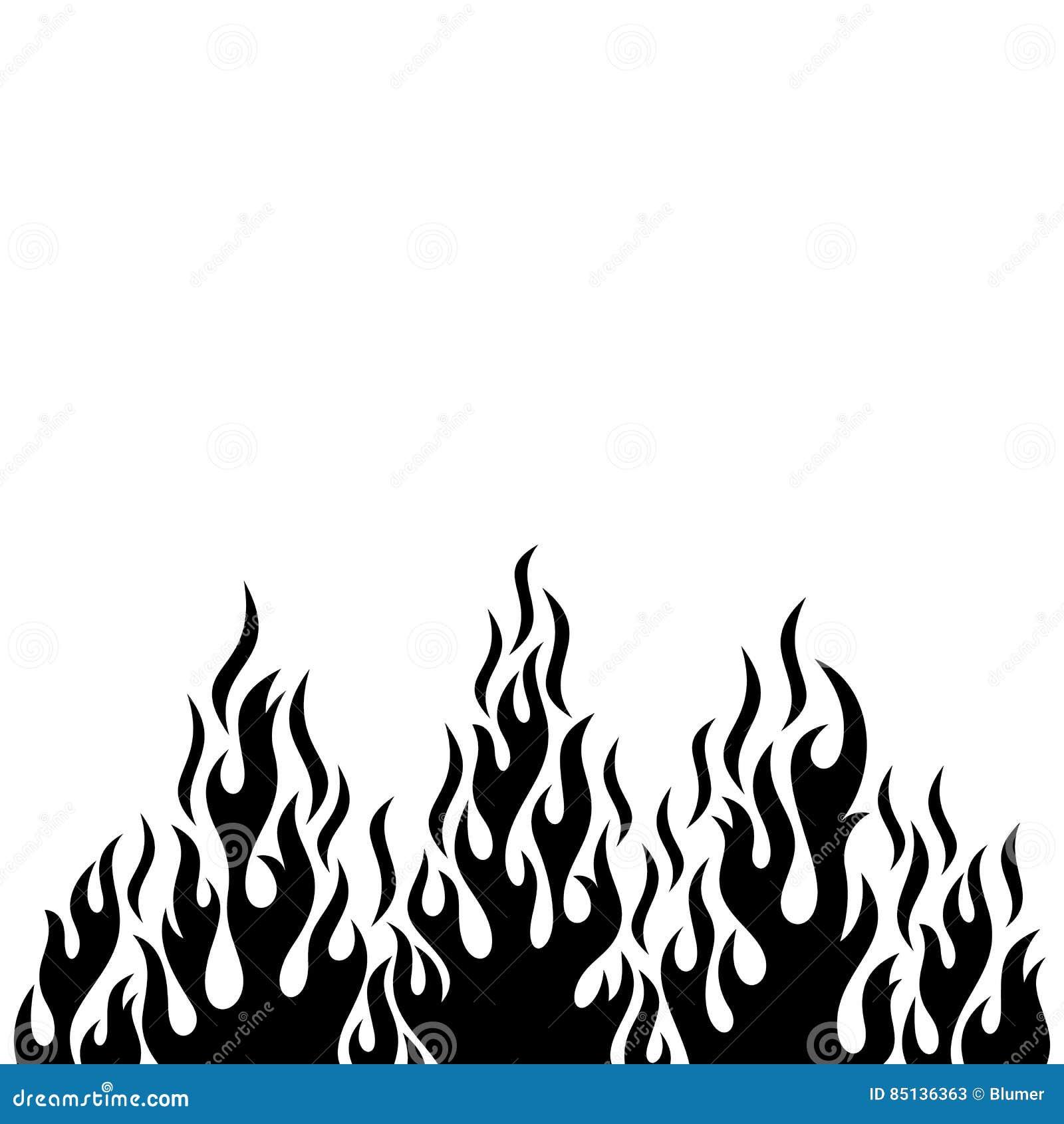 Flamme Dessin Noir Et Blanc