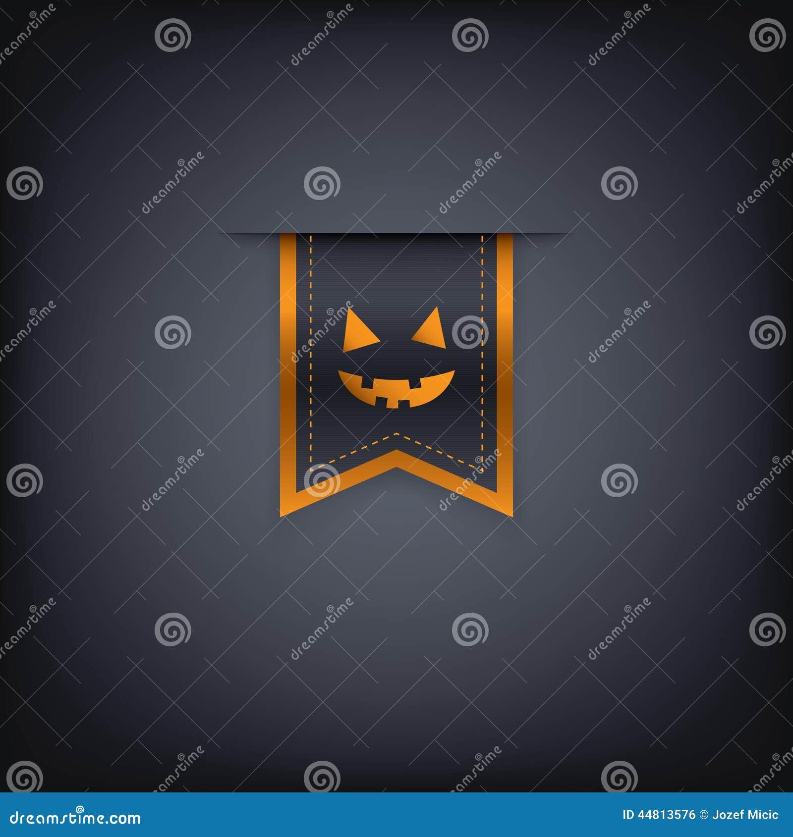 Élément ou étiquette vertical de ruban de Halloween avec le mal