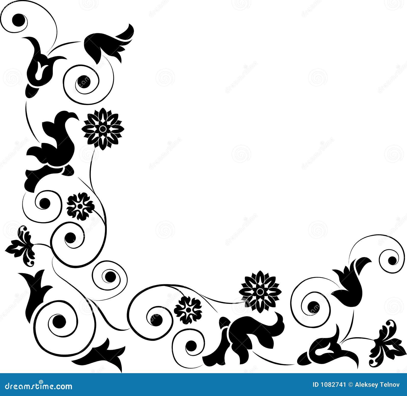 Élément pour la conception, fleur faisante le coin, vecteur