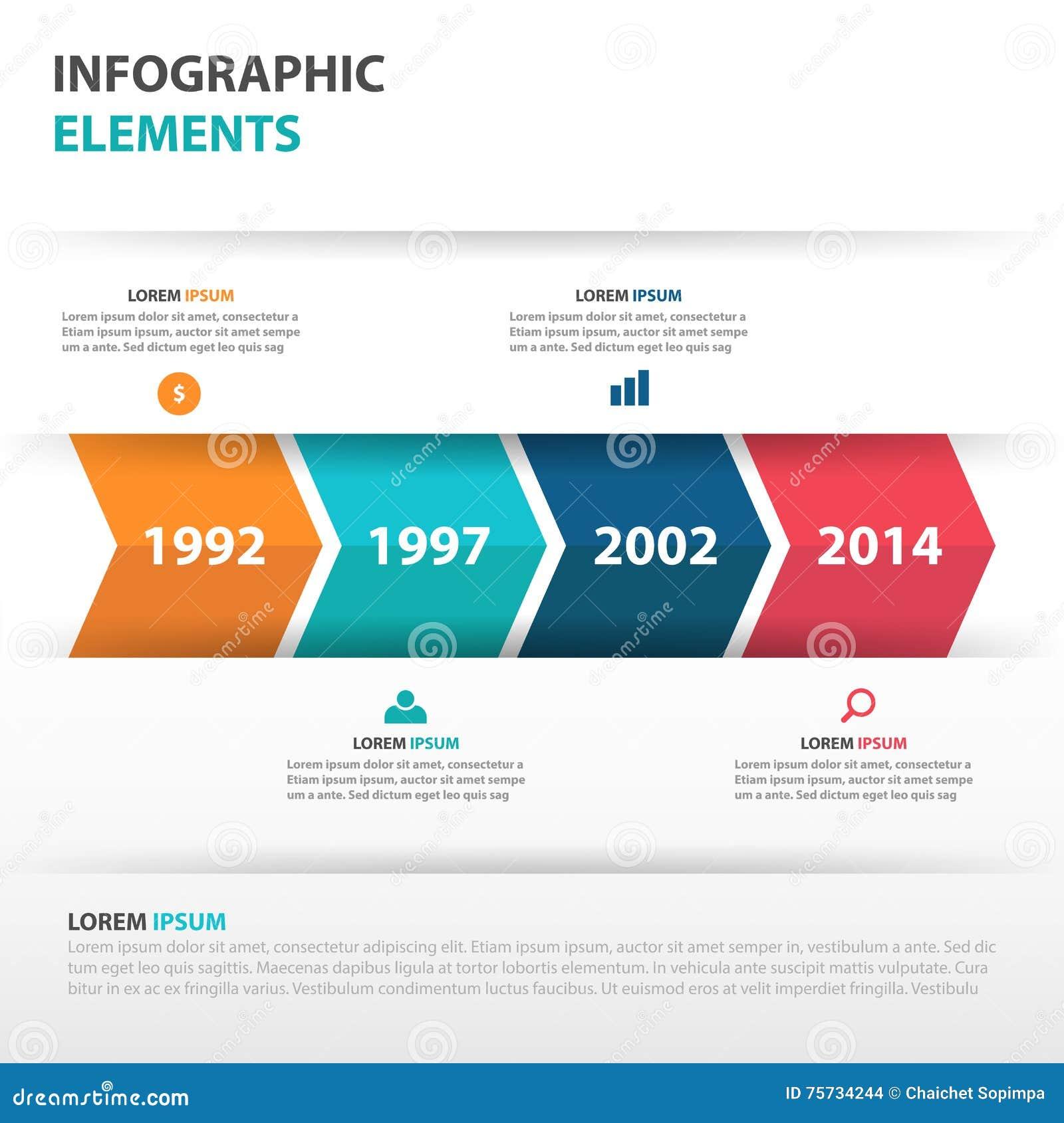 Éléments abstraits d Infographics de chronologie d affaires de flèche, illustration plate de vecteur de conception de calibre de