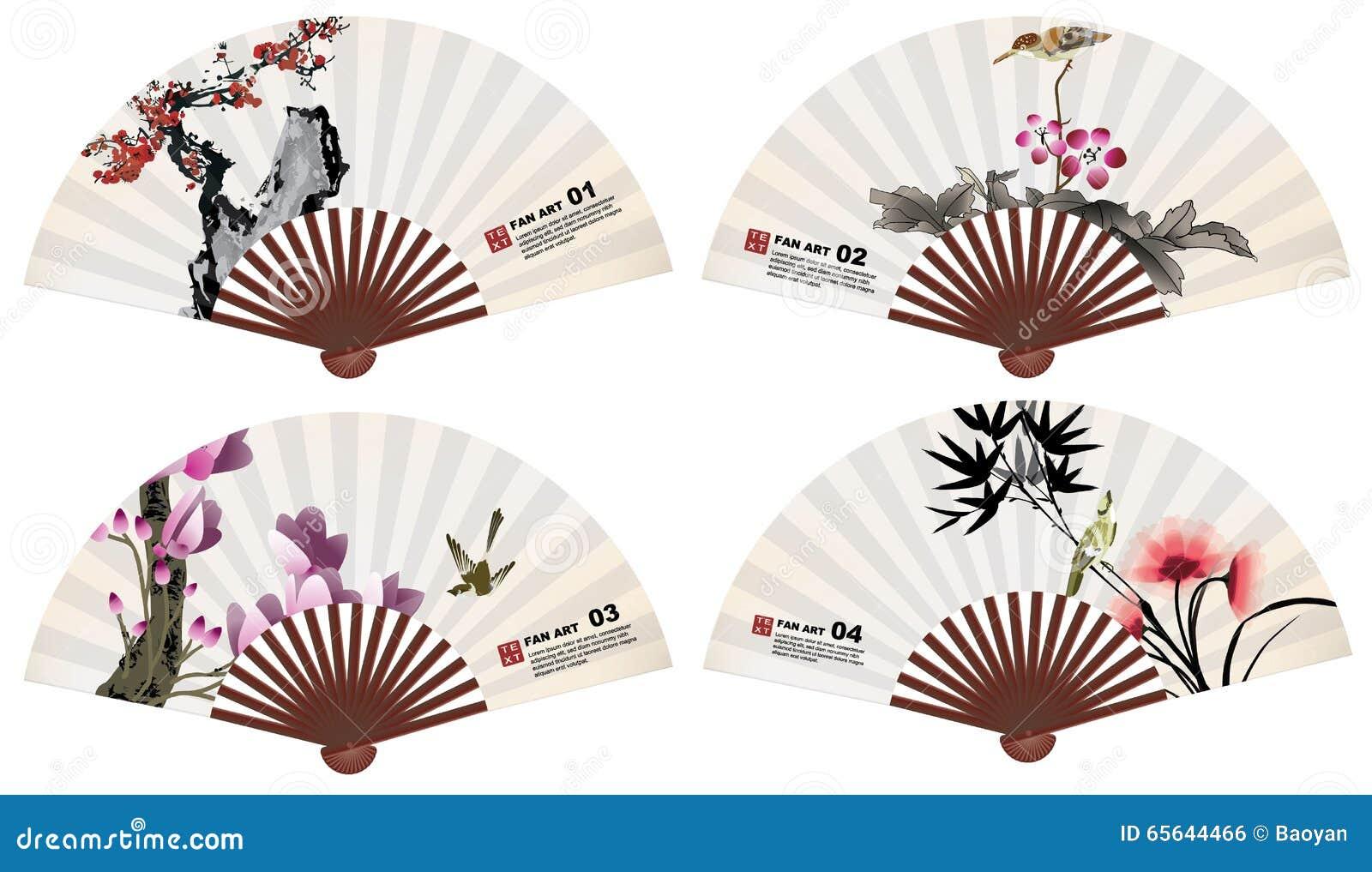 Éléments chinois de nature d art de fan