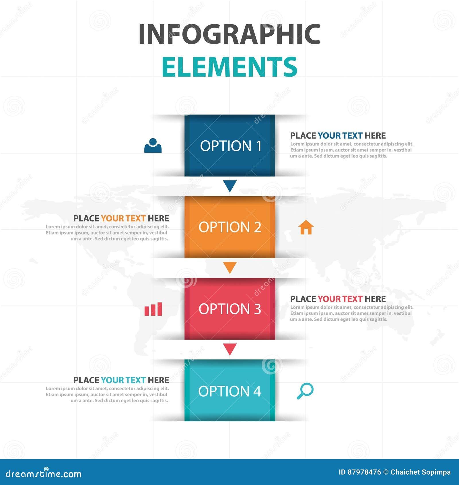 Éléments colorés abstraits d Infographics d affaires de zone de texte, illustration plate de vecteur de conception de calibre de