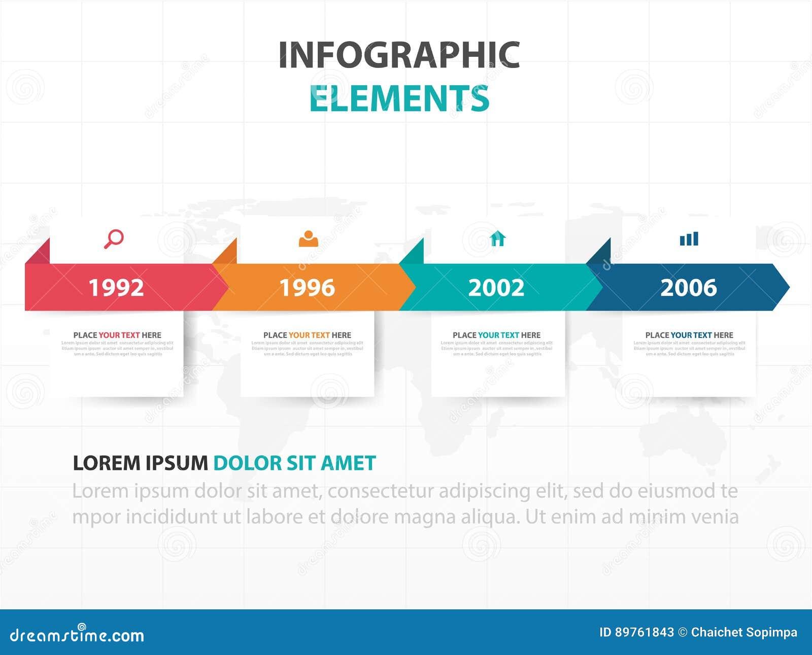 Éléments colorés abstraits d Infographics de chronologie d affaires de label, illustration plate de vecteur de conception de cali