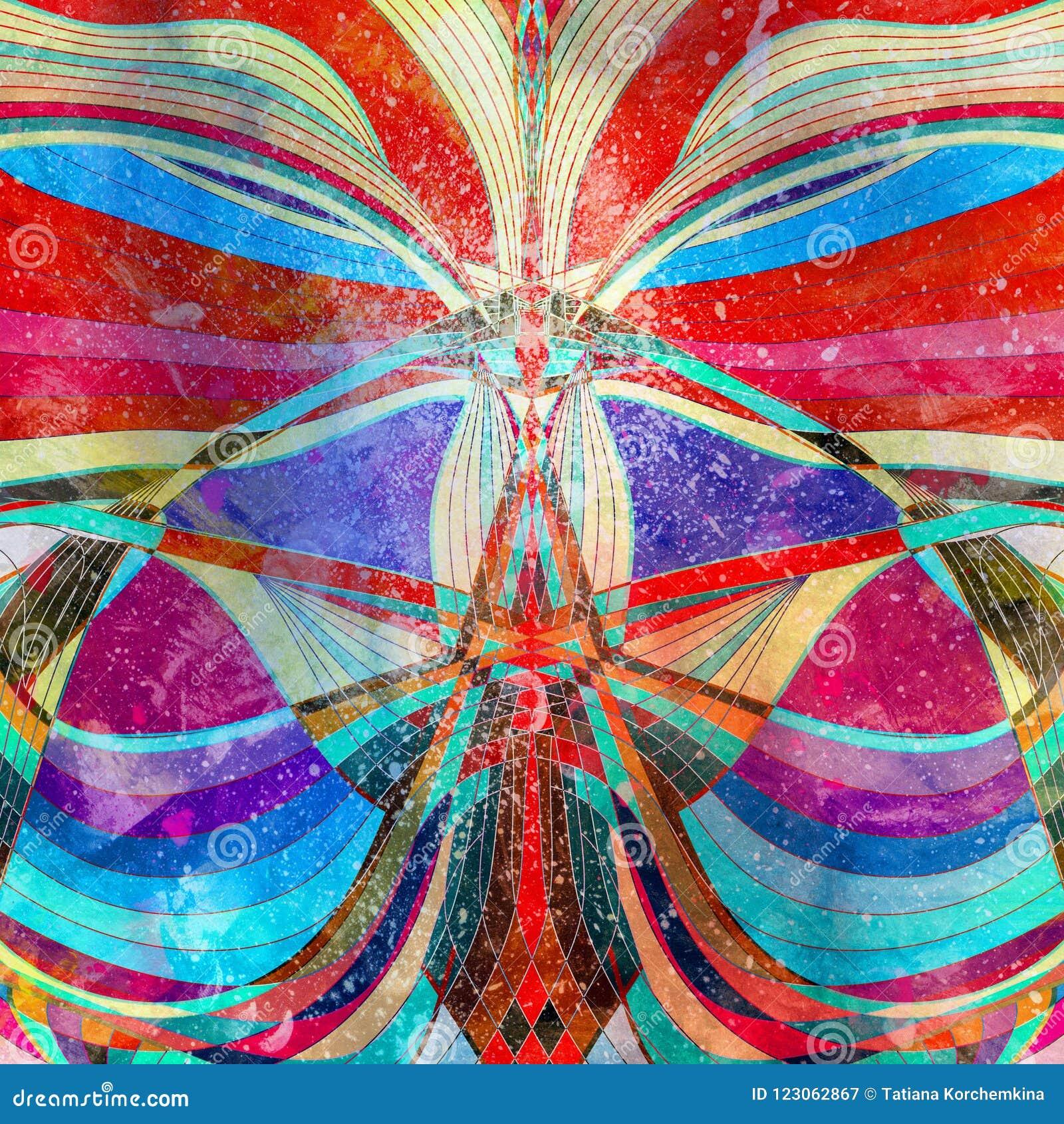 Éléments colorés de vague d aquarelle abstraite