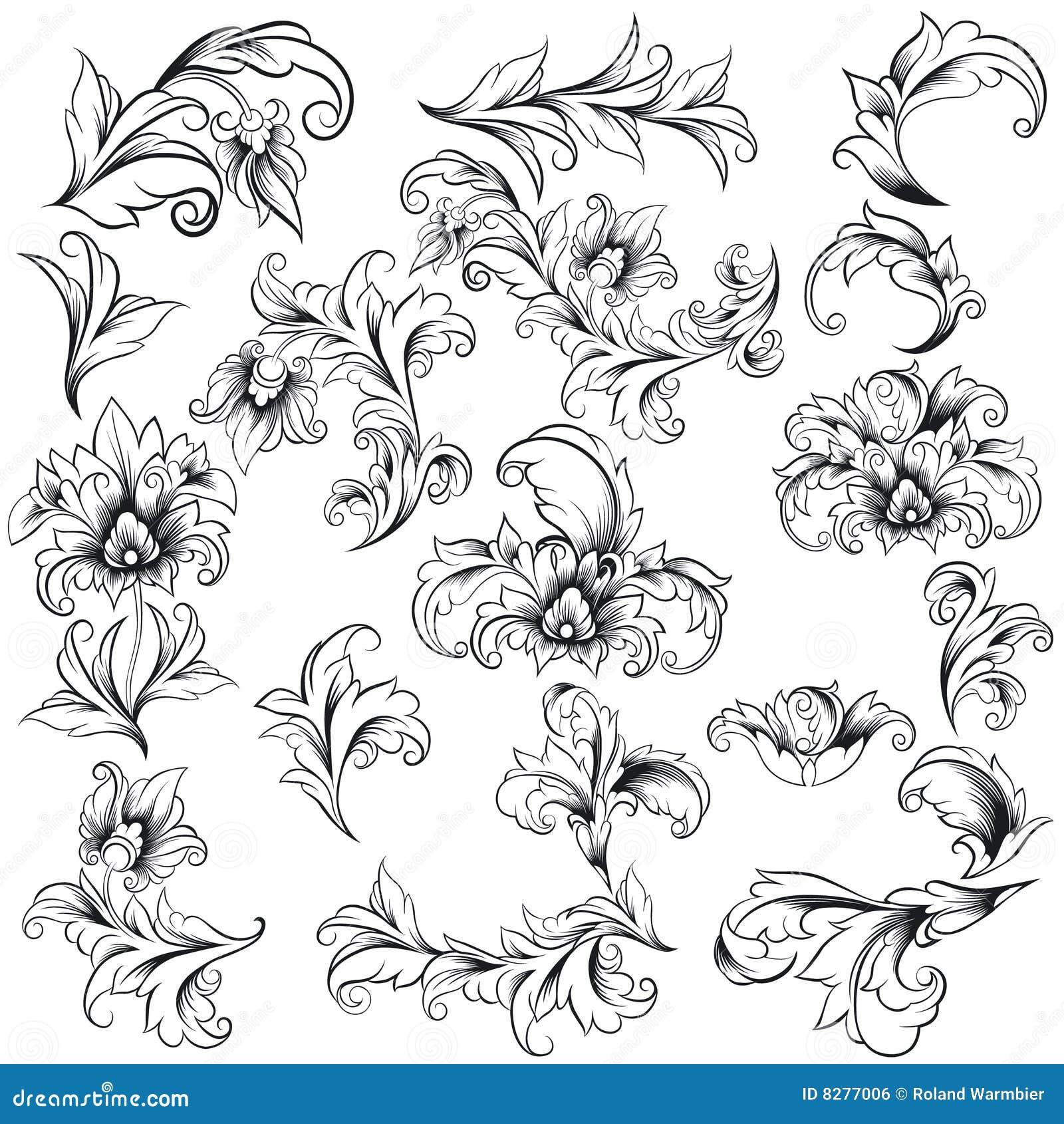 Éléments décoratifs de conception florale