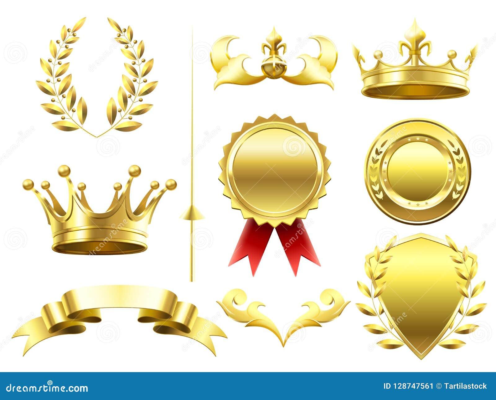 Éléments 3D héraldiques Couronnes et boucliers royaux Médaille d or de gagnant de défi de sport Guirlande de laurier et couronne